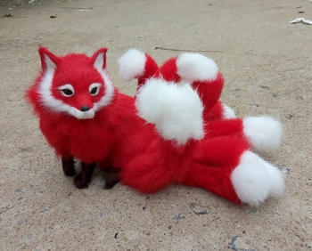 simulation cute red fox 35x18cm model polyethylene&furs fox model home decoration props ,model gift d444