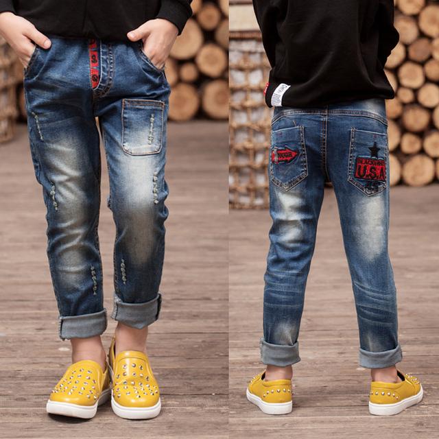 Niños boy jeans 2017 nueva primavera y el otoño niño niño vaqueros pantalones pantalones de los niños Coreanos pantalones vaqueros marea grandes vírgenes