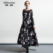2017 autumn dress women's long-sleeve black gauze patchwork one-piece dress Ladies plus size slim print vintage dress female