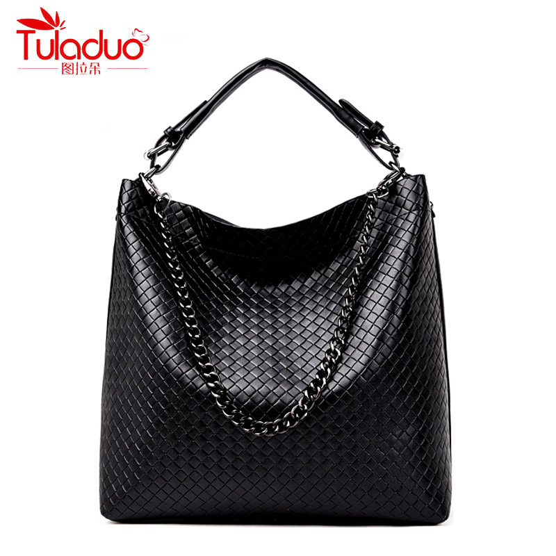 Fashion Plaid Women Handbags High Quality PU Leather Ladies Shoulder Bags Chains Strap Bucket Women Tote Bag Large Capacity Bags