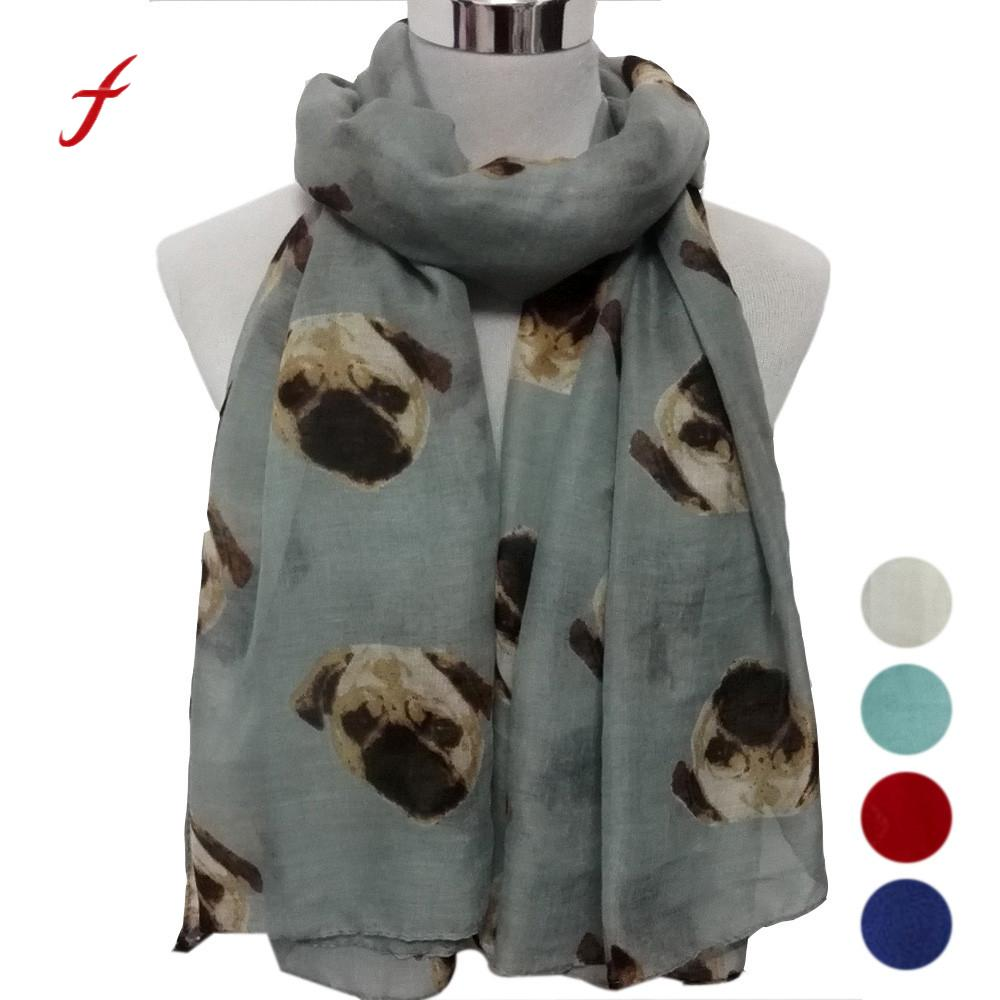 FEITONG Scarves For Women Lady Long Cute Pug Dog Print Scarf Wraps Shawl Soft Scarve Fashion New Spring Elegant Scarf For women(China)