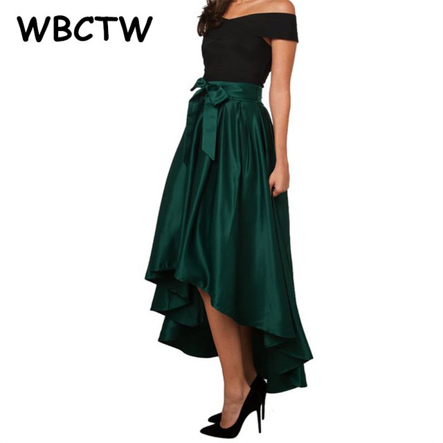 b31a987b4ac WBCTW High Waist Skirts 2018 Autumn Spring High Low Maxi Party Skirt  Vintage 10XL Plus Size Woman Satin Skirt
