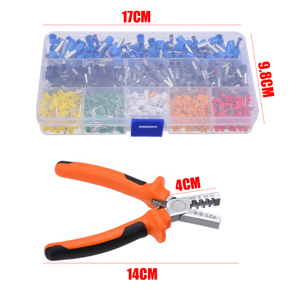Image 2 - 800pcs Cable Wire Terminal Connector with Hand Ferrule Crimper Plier Crimp Tool Kit Set AWG 10 23-in Terminals from Home Improvement