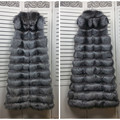 2016 Real Fox Fur Vest Waistcoat Autumn Winter Genuine Women Fur Gilet Trench X-Long Outerwear Coats Lady Overcoat 1019