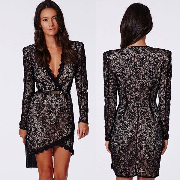 7dd122996 Mulheres sexy black lace bordados dress v profundo neck manga comprida de malha  jacquard dress para a senhora elegante do escritório do vintage dress em ...
