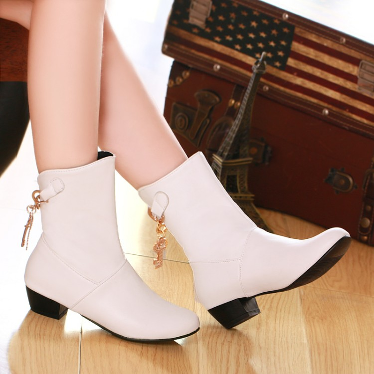 ФОТО 2016 autumn and winter low-heeled boots small yards 30 - 33 plus size 40 - 47 plain all-match casual boots free shipping