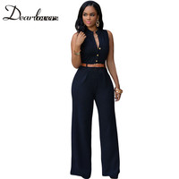 Red Black Belted Wide Leg Jumpsuit LC60932