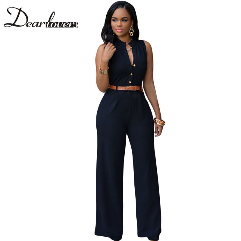 Dear lover 7 Colors Rompers Womens Jumpsuit 2017 Summer Overalls Sleeveless Belted Wide Leg Jumpsuit combinaison