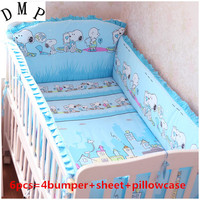 Promotion! 6PCS Baby Bedding Set 100%Cotton Baby Crib Bedding Set For Girl (bumpers+sheet+pillow cover)