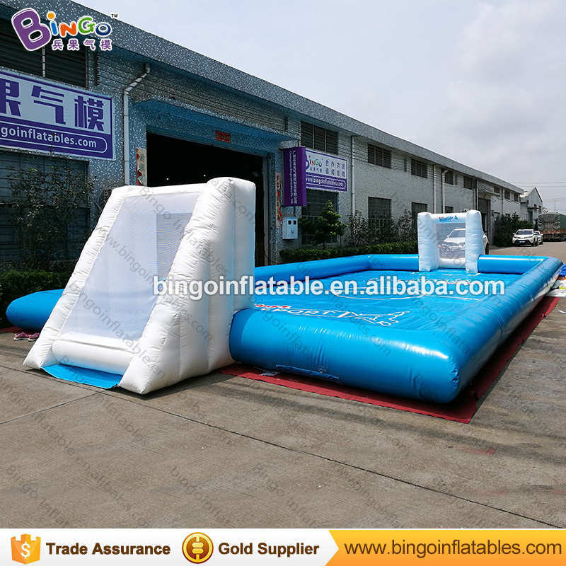Free express 14X7 m inflatable football field for kids durable football court soccer pitch with gate for amusement outdoor toys cheap portable small inflatable water soccer football field for kids
