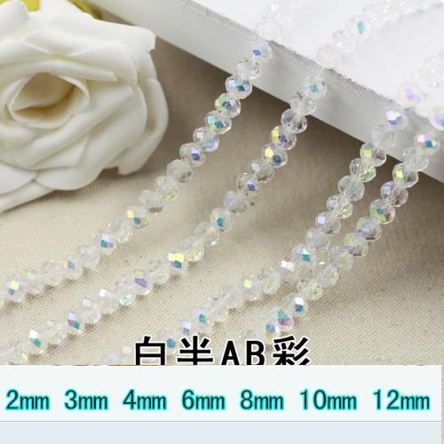 5040 AAA High Quality Crystal Clear gjysmë AB rrobat e lirshme Crystal Rondelle Rondelle Për DIY! 2mm 3mm 4mm, 6 mm, 8 mm 10 mm, 12mm
