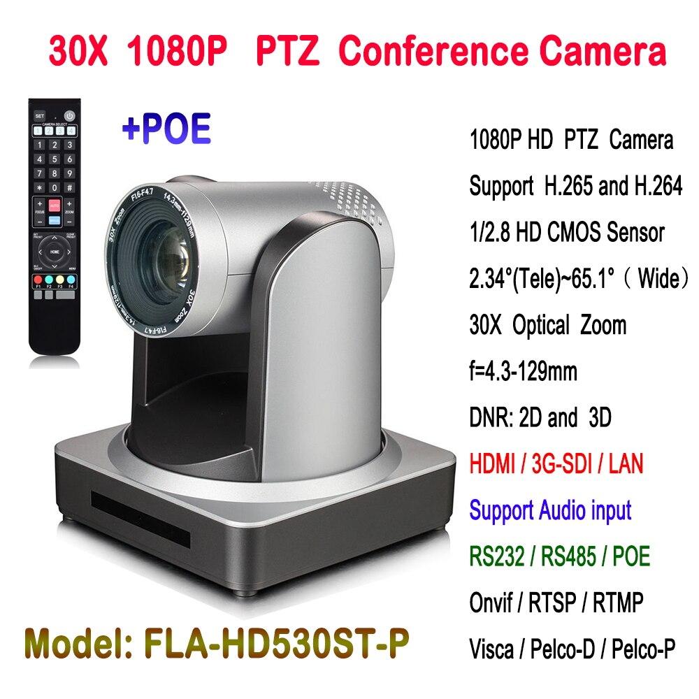 Vídeo conferência ptz camera full hd 1920x1080 câmera ip poe 30x Zoom com 3G-SDI saída hdmi