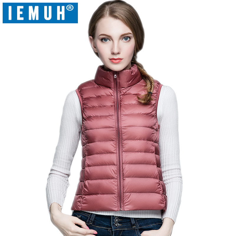 IEMUH Brand 2017 New Winter 90% White Duck   Down   Vest Women Windproof Slim Ultra Light Warm Sleeveless   Down     Coat   Sleeveless Jack
