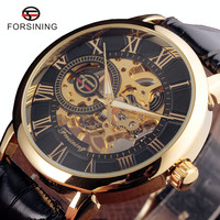 Forsining 3d Logo Design Hollow Engraving Black Gold Case Leather Skeleton Mechanical Watches Men Luxury Brand
