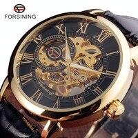 Forsining 3d חריטה חלול עיצוב לוגו מותג יוקרה גברים שעונים מכאני שלד עור מקרה זהב שחור Heren Horloge