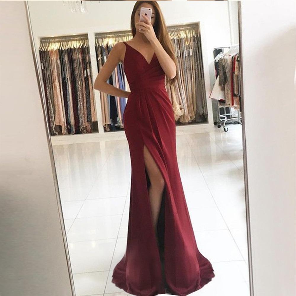 Bbonline 2019 Sexy High Slit   Prom     dresses   Hot Sale V-Neck Evening   Dresses   Long Burgundy Satin Evening Gown Formal Party   Dresses