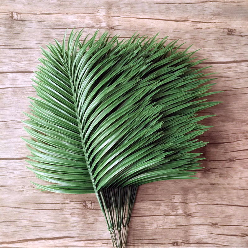 Artificial Bamboo Coconut Palm Plant Tree Leaf Branch Frond Wedding Garden Outdoor Decor Fake Green Leaves bouquet diy