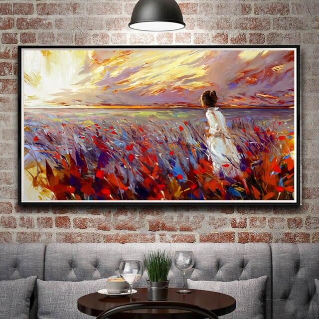 US $5.15 14% OFF|Obraz olejny pejzaż pole zachód słońca biała sukienka Art Silk plakat do dekoracji domu 11x20 16x29 20x36 cal oprawione darmowa