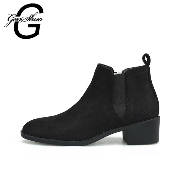 GENSHUO 2018 Fashion Flat Boot Winter Shoes Women Black Ankle Boots Warm Shoes Square Heel Short Plush Boots Rubber Boots Women