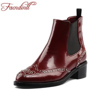 FACNDINLL Retro Design Rivets Studded Ankle Boots For Women Autumn Winter Motorcycle Boots Genuine Leather Ladies