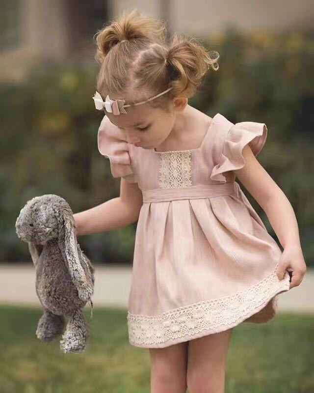 Wholesale Summer New Girl Dress Pink Lace Flare Sleeve Cotton Princess Mini Dress Children Clothing 1