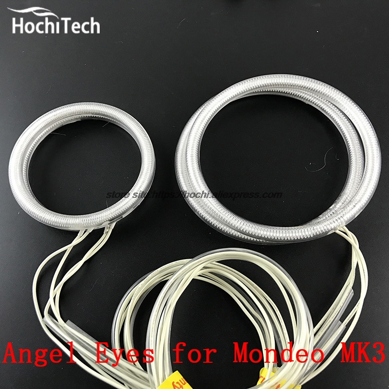 HochiTech WHITE 6000K CCFL Headlight Halo Angel Demon Eyes Kit angel eyes light for FORD Mondeo MK3 2001 02 03 04 2005 2006 2007 hochitech white 6000k ccfl headlight halo angel demon eyes kit angel eyes light for vw volkswagen golf 5 mk5 2003 2009