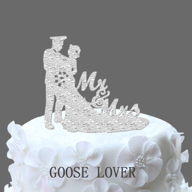 Policeman Wedding Cake Topper Silhouette Bride Groom \