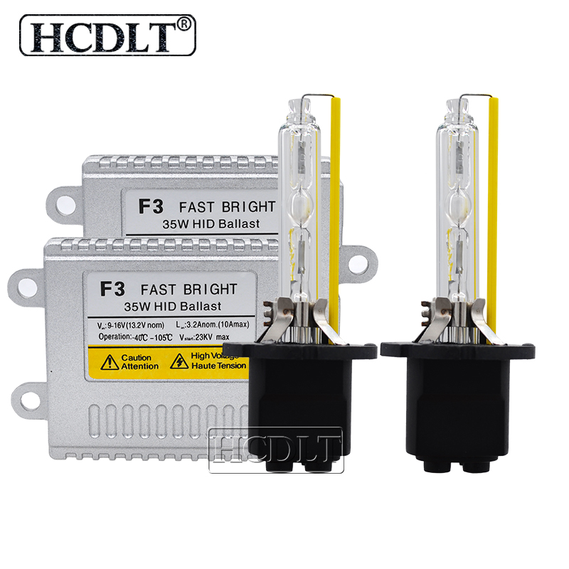 HCDLT Fast Bright 35W F3 HID Slim Ballast Auto Car Headlight Kit Xenon 5500K D2H 9012