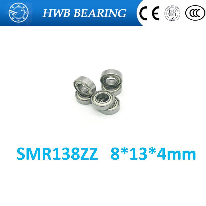 Free Shipping 4PCS  8x13x4  Metal Shields Bearings  ABEC-7 Stainless Steel  SMR138 ZZ 1pcs 71822 71822cd p4 7822 110x140x16 mochu thin walled miniature angular contact bearings speed spindle bearings cnc abec 7