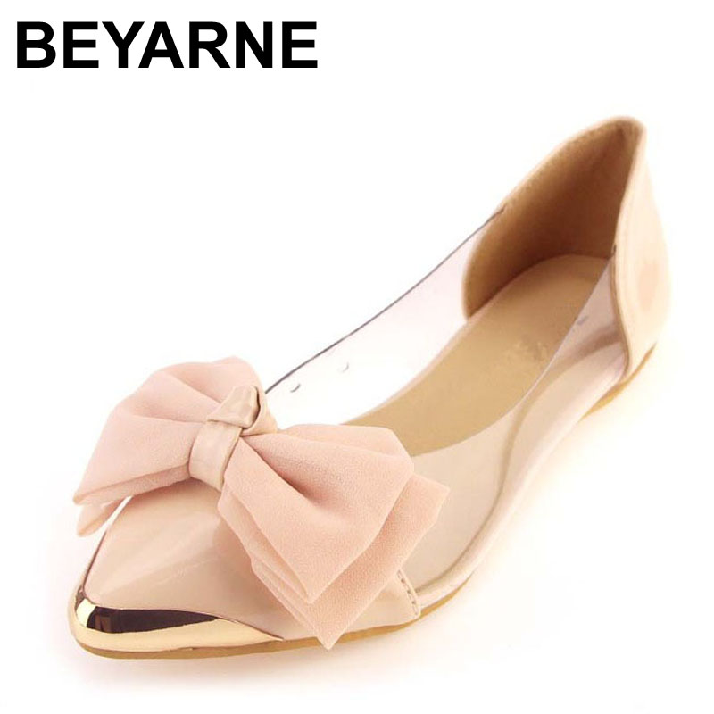 BEYARNE Hot selling ol princess shoes bow transparent film shoes metal flat pointed toe flatsLarge size