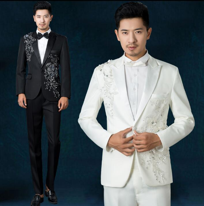 Chorus Mariage Groom Wedding Suits For Men Blazer Boys Prom Sequins Suits Fashion Slim Masculino Latest Coat Pant Designs White