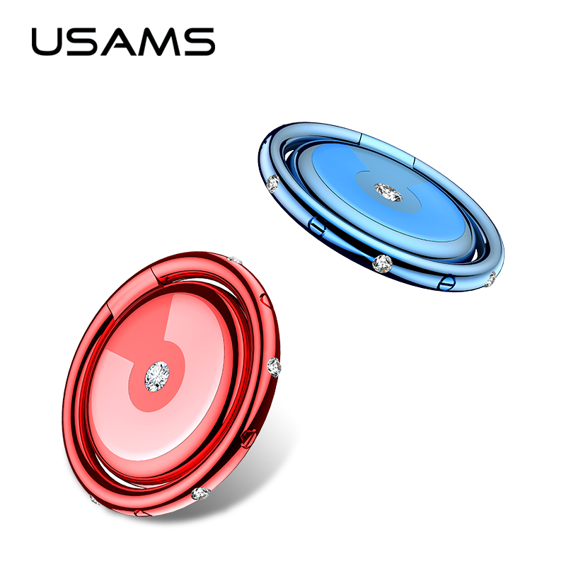 USAMS Universal 360 degree Diamond Ring Holder Magnetic Metal Car Mobile Phone Holder phone Ring Bracket Diamond Insert