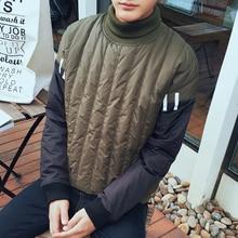 2016 Корейской Зимой Ватник Мужчины Моды Личности Лоскутное Водолазка Пуловеры Мужчины Куртка Теплый Ватные Куртки Прилив