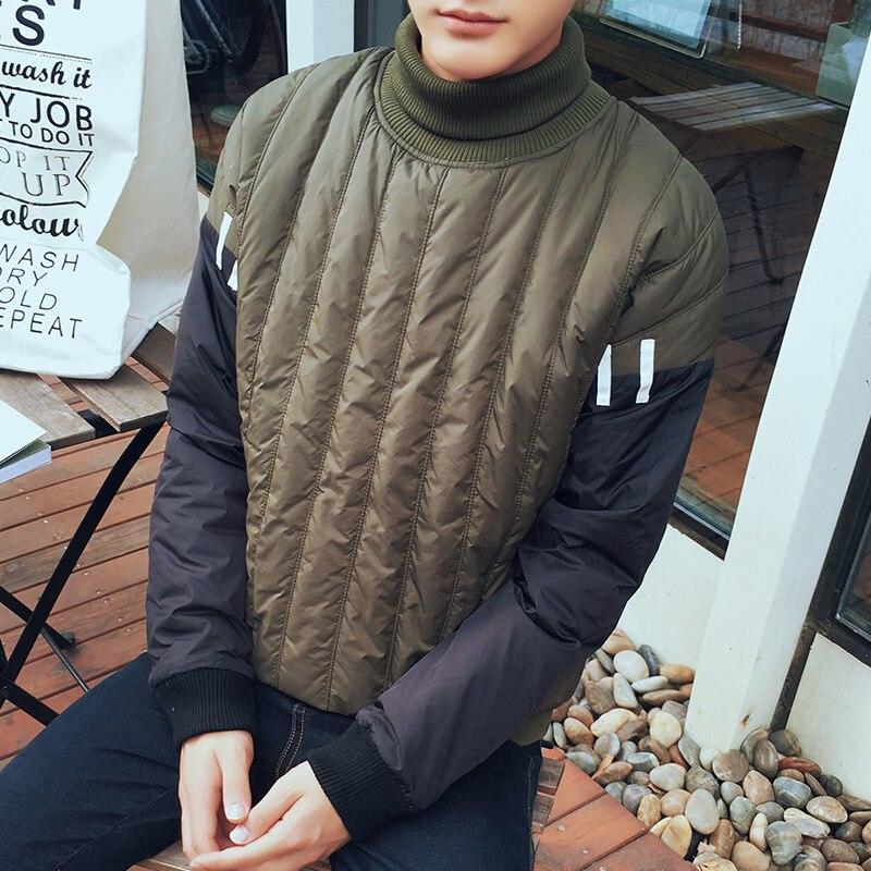2016 Korean Winter Padded Jacket Men Fashion Personality Patchwork Turtleneck Pullover Men Parka Warm Wadded Jacket Tide