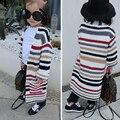 Nueva casaul embroma la ropa de invierno de manga larga de punto suéter largo del suéter de los bebés niño lindo suéter de las muchachas niños