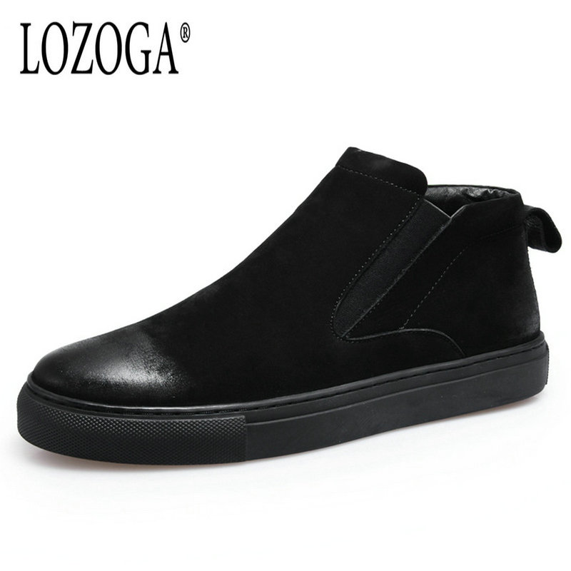 LOZOGA Plus Size Men Boots Autumn Winter Chelsea Boots Cow Suede Leather Boots Black Snow Boots Ankle Slip On Retro Casual Shoes suede ankle snow boots