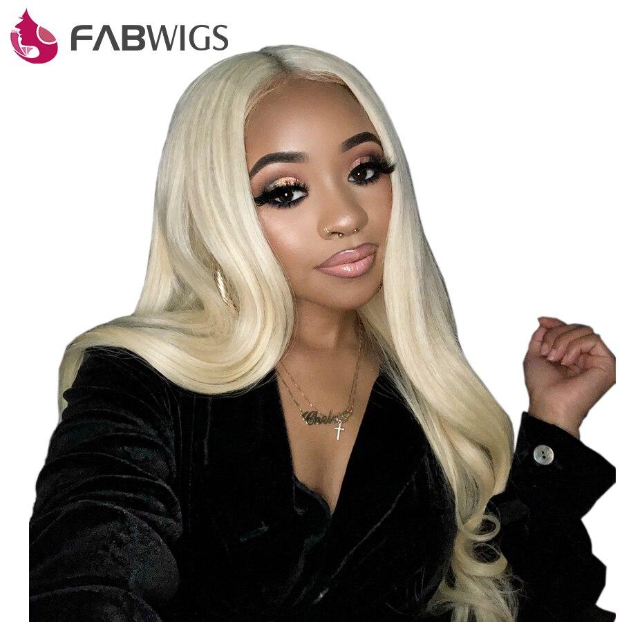 Fabwigs 150% Densité #613 Blonde Full Lace Perruques de Cheveux Humains avec Bébé Cheveux Pré Pincées Brésiliens Remy Full Lace perruque de Cheveux Humains