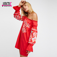 Jastie Enchanted Garden Embroidery Mini Dress Butterfly Sleeve Off the Shoulder Neckline Sexy Dresses Boho Women Vestidos