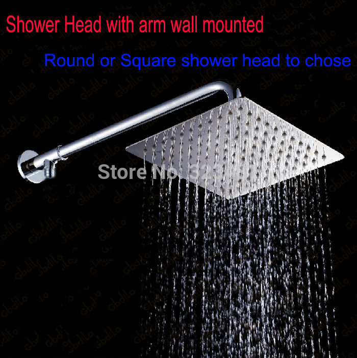 DIY Exposed Wall Mounted Shower Set including 8' Shower Head with arm and showerhead holder Refit shower kits diverter adapter free shipping wall mounted brushed nickle led light showerhead with shower arm 8 10 12 inch