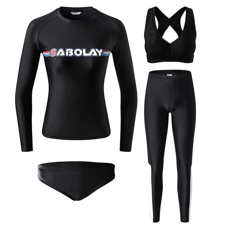 4 Pcs Wanita Lengan Panjang K Berlaku Baju Renang Full Body Surfing Baju Renang UV Perlindungan UPF50 + Kaos Celana Pendek Bra Celana Renang suit
