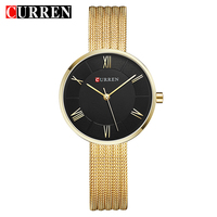CURREN Women Watches Top Brand Luxury Stainless Steel Mesh Band Gold Casual Watch Ladies Business Quartz