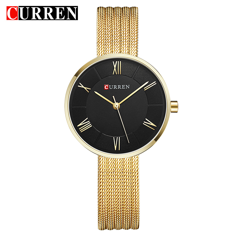 CURREN Women Watches Top Brand Luxury Stainless Steel Mesh Band Gold casual Watch Ladies Business quartz watch Relogio Feminino 2017 julius brand ladies women dress watches thin quartz watch steel mesh band luxury gold bracelet wristwatch relogio feminino