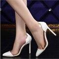 Más el tamaño 34-42 mujeres bombas tacones altos oro tatuaje desnuda astilla blanco transparente bombas zapatos de boda Sapatos Feminino