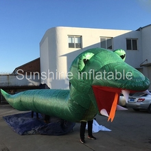 Customized outdoor several people walking 33ft giant inflatable snake costume for parade events