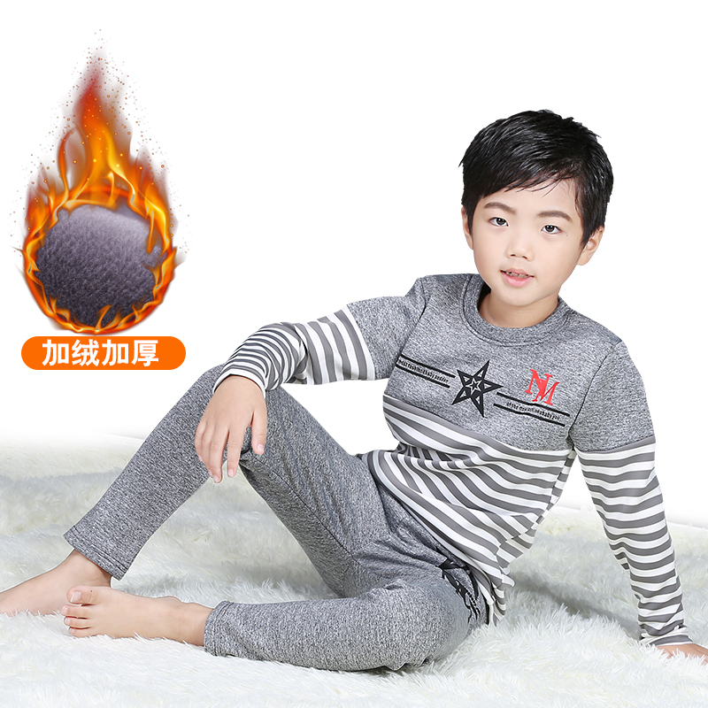 kids thermal underwear long johns winter thicken cotton underwear set for boys 8 9 12 14 years blue gray johns hl sb843 page 9
