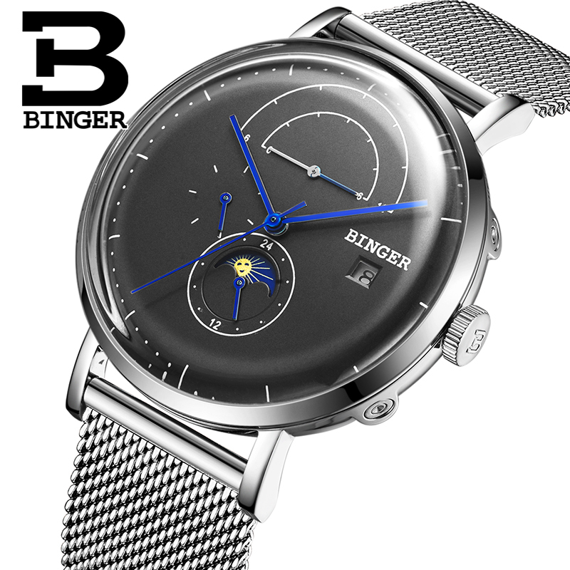 Switzerland BINGER Men Watch Luxury Brand Automatic Mechanical Mens Watches Sapphire Male Japan Movement reloj hombre B8610-7 switzerland binger watch men 2017 luxury brand automatic mechanical men s watches sapphire wristwatch male reloj hombre b1176g 6