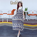 Summer Short Sleeve T-shirt+ Fashion Exquisite Retro Print Cotton Slip Dress Pregnant Women Dresses Loose Maternity Dress