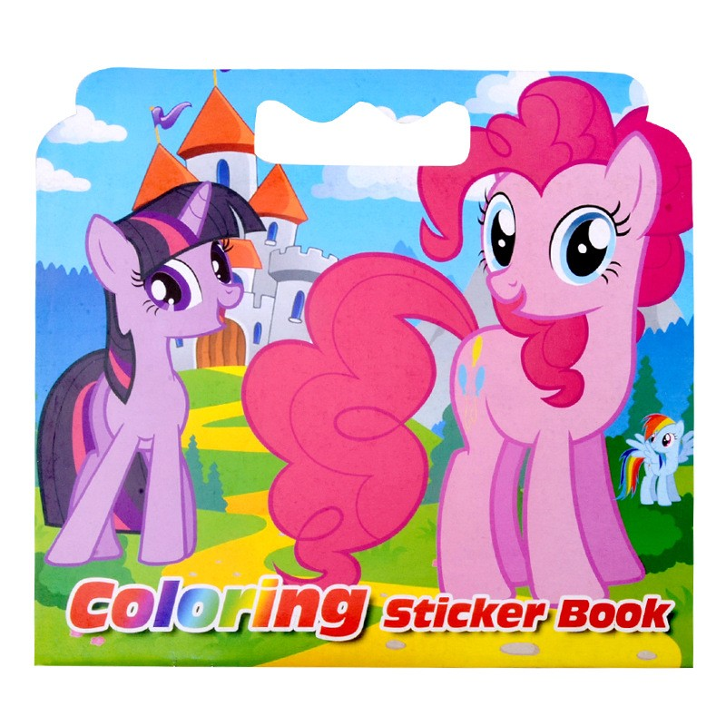 16 Pages Pony Coloring Sticker Book For Children Antistress Adults Coloring Books Livre Cloriage Kids Painting Drawing Art Book