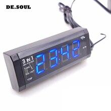 PARASOLANT 3 in 1 termometro auto orologio mini orologio pratico Automotive Forniture rivestimenti interni auto orologio Voltmetro orologio per auto