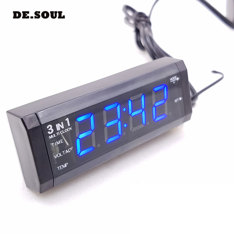 PARASOLANT 3 in 1 thermometer clock car mini watch practical Automotive Supplies interior trim car clock Voltmeter watch for car 3 in 1 multifunctional car digital voltmeter usb car charger led battery dc voltmeter thermometer temperature meter sensor